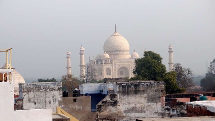 View on Taj Mahal from the rooftop of our hotel