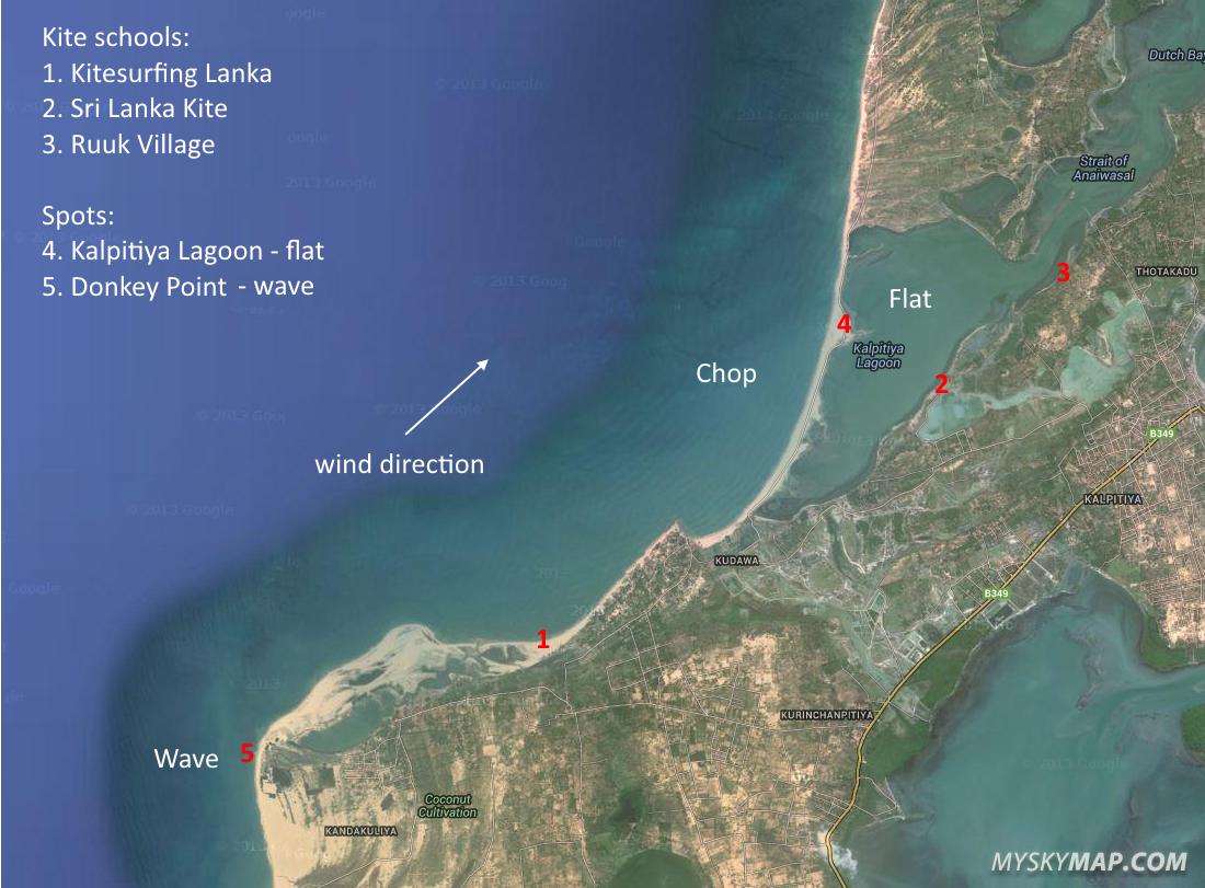 Kalpitiya kitesurfing spots map