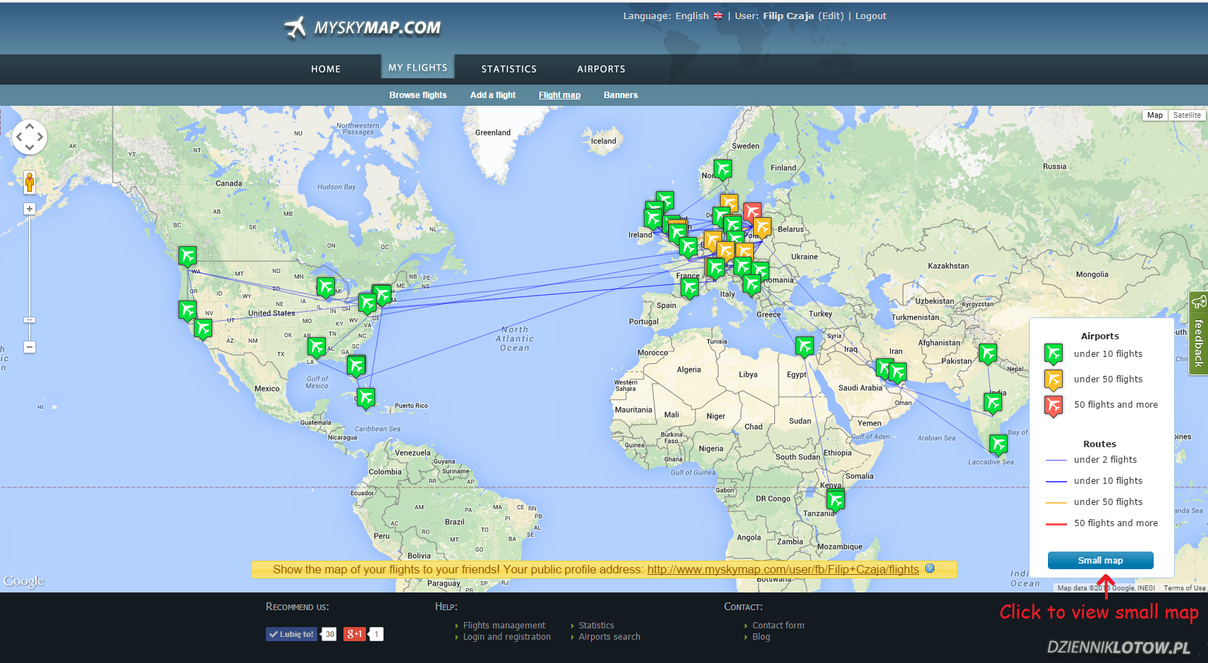 Large, nearly full-screen map of user flights.